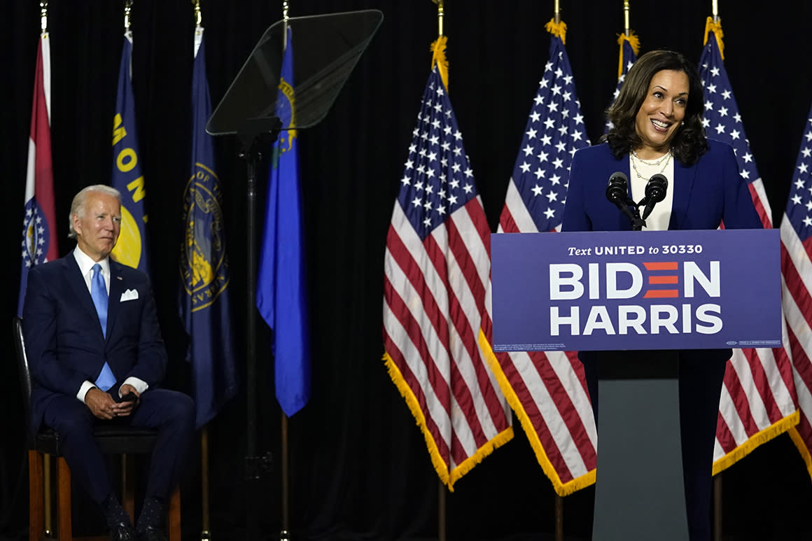 'Her story is America's story': Biden and Harris present united front at first event together