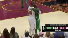 LeBron James and Kyrie Irving hugged it out after the intense Cavs-Celtics duel to open the season