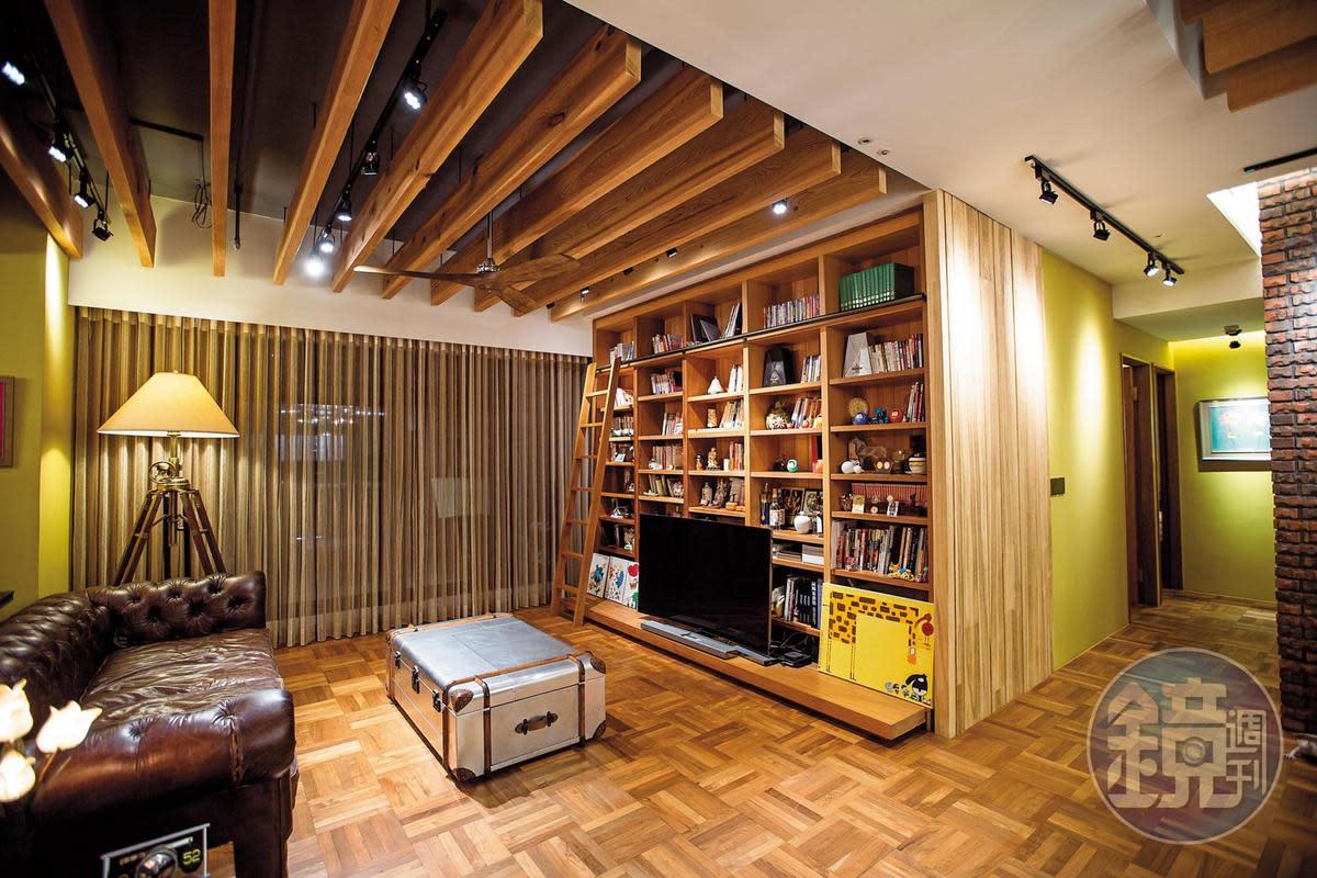 90坪寬敞的家,大量使用原木的裝潢,由陳斐娟親自與設計師溝通打理。