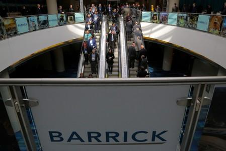 FILE PHOTO: The logo of sponsor Barrick Gold Corporation is seen as visitors arrive during the PDAC convention in Toronto
