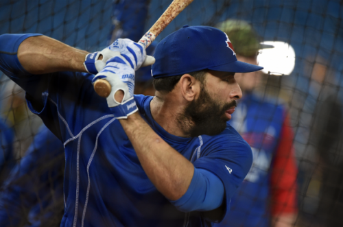 Jose Bautista even has power from the left side. (Getty Images/Jon Blacker)