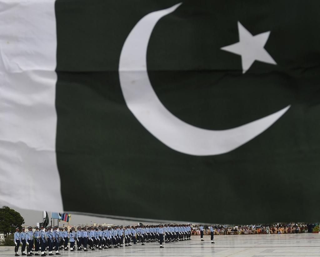 Pakistan Air Force cadets march past the mausoleum of the country's founder Mohammad Ali Jinnah during celebrations to mark the country's Defence Day in Karachi on September 6, 2016
