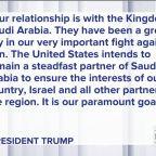 U.S. 'standing with Saudi Arabia'