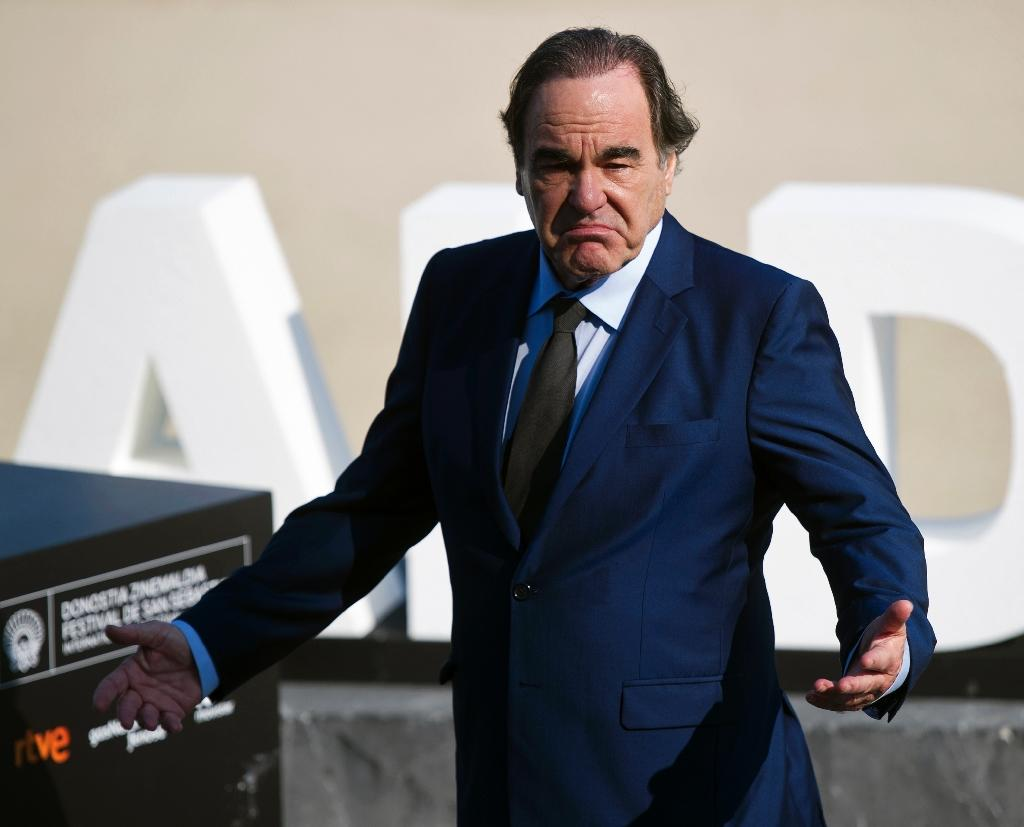 """US film director, screenwriter and producer Oliver Stone promotes the film """"Snowden"""" at the 64th San Sebastian Film Festival on September 22, 2016"""