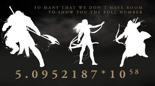There are 5.0952187*10^58 possible character variations in Elder Scrolls Online