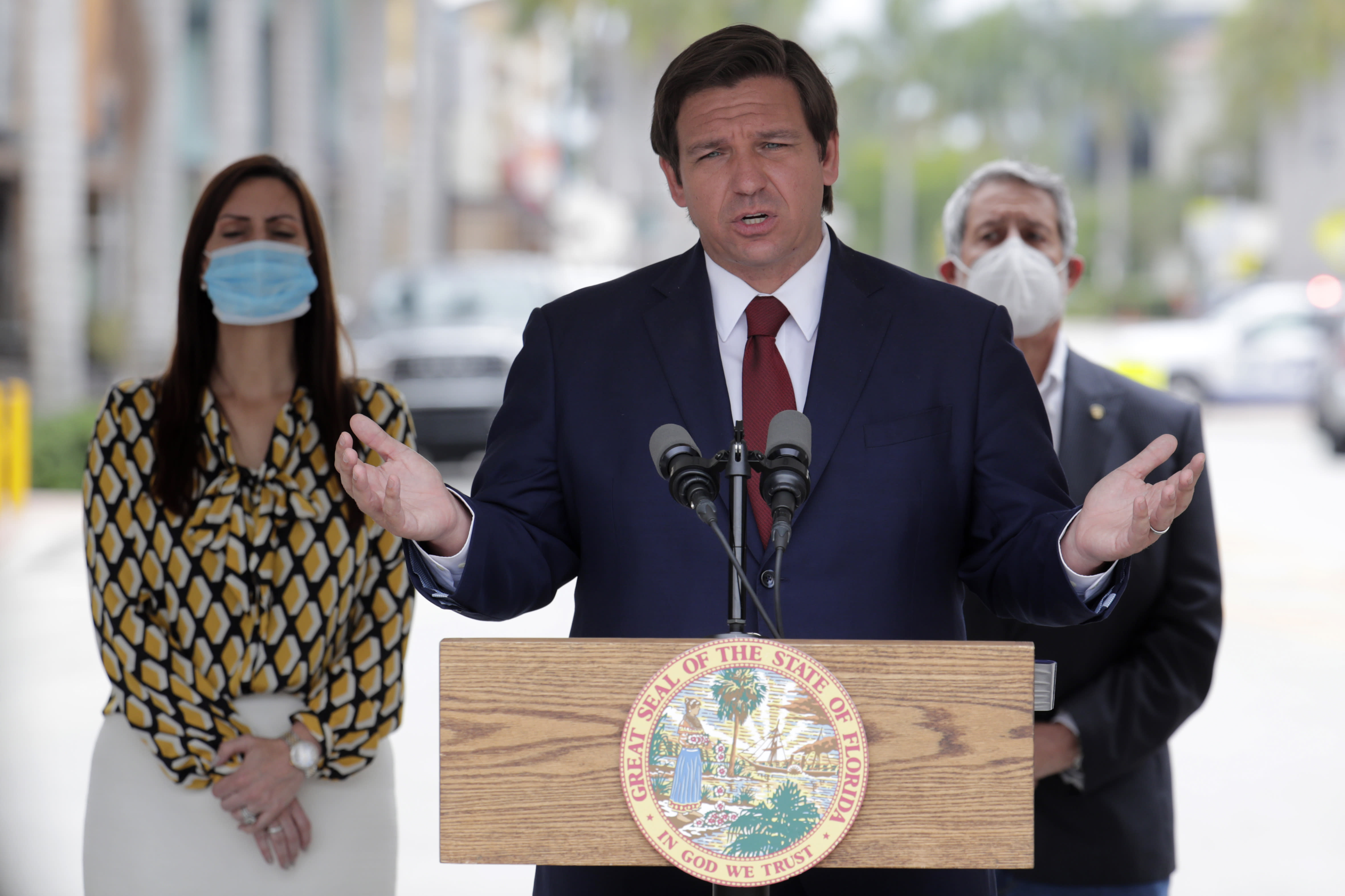 Florida Gov. Ron DeSantis speaks at a news conference during the new coronavirus pandemic, Thursday, May 14, 2020, in Doral, Fla. DeSantis has signed an executive order for the reopening of Miami-Dade and Broward counties on May 18. (AP Photo/Lynne Sladky)