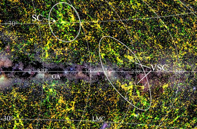 Massive galaxy cluster found 'hiding' behind the Milky Way