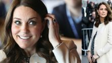 Kate Middleton took a style cue from Meghan Markle for final appearance before maternity leave