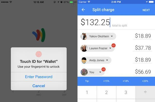 Google Wallet app updated with Touch ID support and new bill splitting feature
