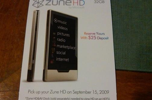 Zune HD coming September 15th, says leaked display stand