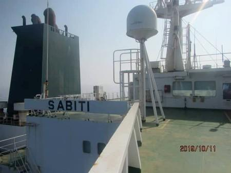 The Iranian-owned Sabiti oil tanker sails in the Red Sea