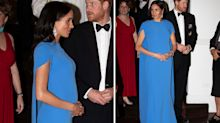 Pregnant Meghan Markle dazzles in diamonds and designer gown for Fiji evening engagement