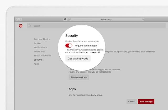 Pinterest enables two-factor authentication for all users