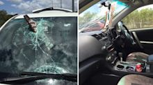 Lucky escape for driver after loose number plate smashes windscreen