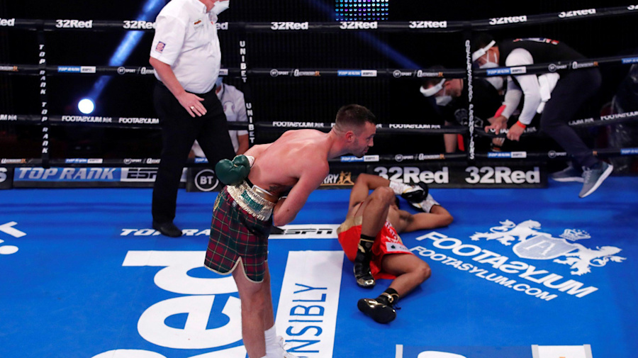 Josh Taylor delivers first round knockout of Apinun Khongsong