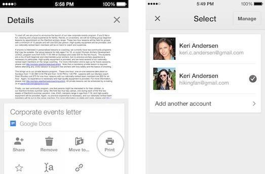 Google Drive for iOS now supports multiple accounts, AirPrint and CloudPrint capability