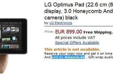 LG Optimus Pad listed on Amazon.de for a slightly less crazy €899