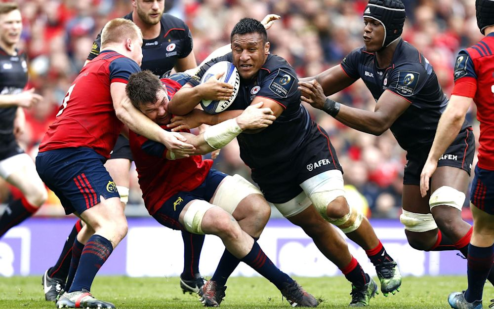 Mako Vunipola makes a break for Saracens against Munster - Rex Features