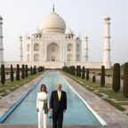 Donald Trump and first lady stroll the grounds of iconic Taj Mahal