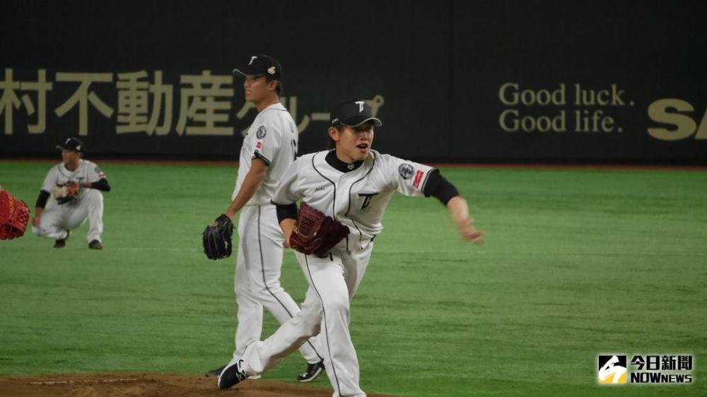 ▲中華隊先發投手陳冠宇在東京巨蛋練習。(圖/吳政紘攝)