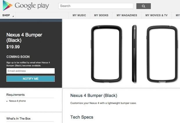Nexus 4 and 10 hit Australian Google Play store first, $20 Nexus 4 bumpers appear (update: Europe too)