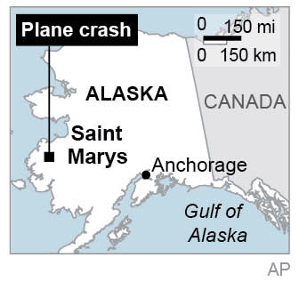 Map locates Saint Mary's in Alaska, where a small plane crashed, killing four.; 1c x 2 inches; 46.5 mm x 50 mm;