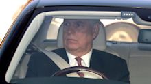 Troubled royal Prince Andrew arrives at Buckingham Palace for Queen's Christmas lunch