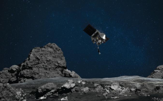 OSIRIS-REx over asteroid Bennu