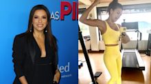 'Feeling fit': Eva Longoria shows off her incredible physique in bright yellow workout set