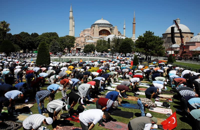 Friday prayers at Hagia Sophia Grand Mosque for the first time in 86 years, in Istanbul