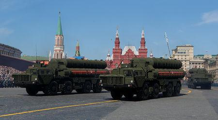 Russian servicemen drive S-400 missile air defence systems during the Victory Day parade at the Red Square in Moscow