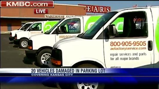Sears vehicles damaged in company parking lot