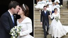 Princess Eugenie shares kiss with new husband at fairytale wedding