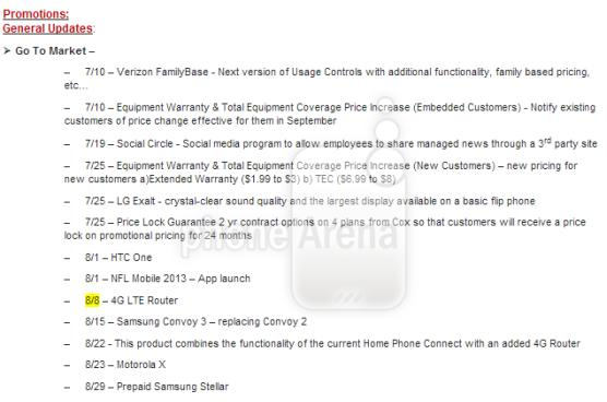 Moto X and HTC One get August street dates on Verizon in leaked roadmap