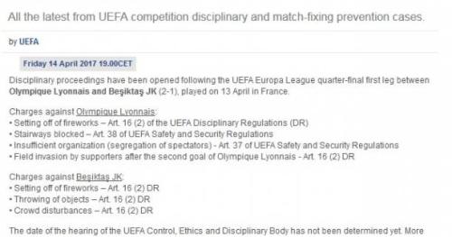 Foot - UEFA - L'UEFA a ouvert des procédures disciplinaires contre Lyon et Besiktas à la suite des incidents au Parc OL