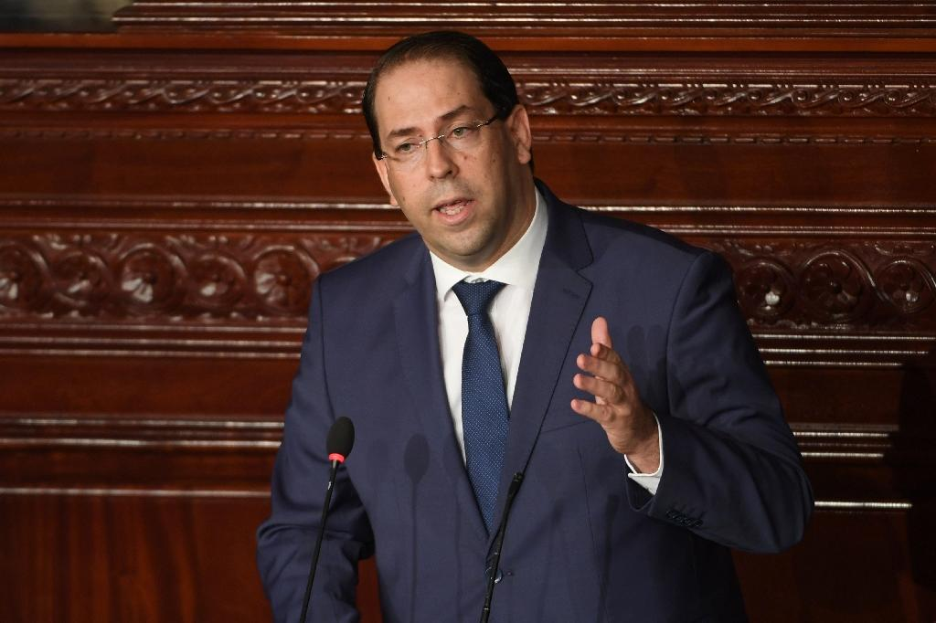 Tunisian Prime Minister Youssef Chahed gives a speech prior to a confidence bill during a plenary session of parliament on July 28, 2018