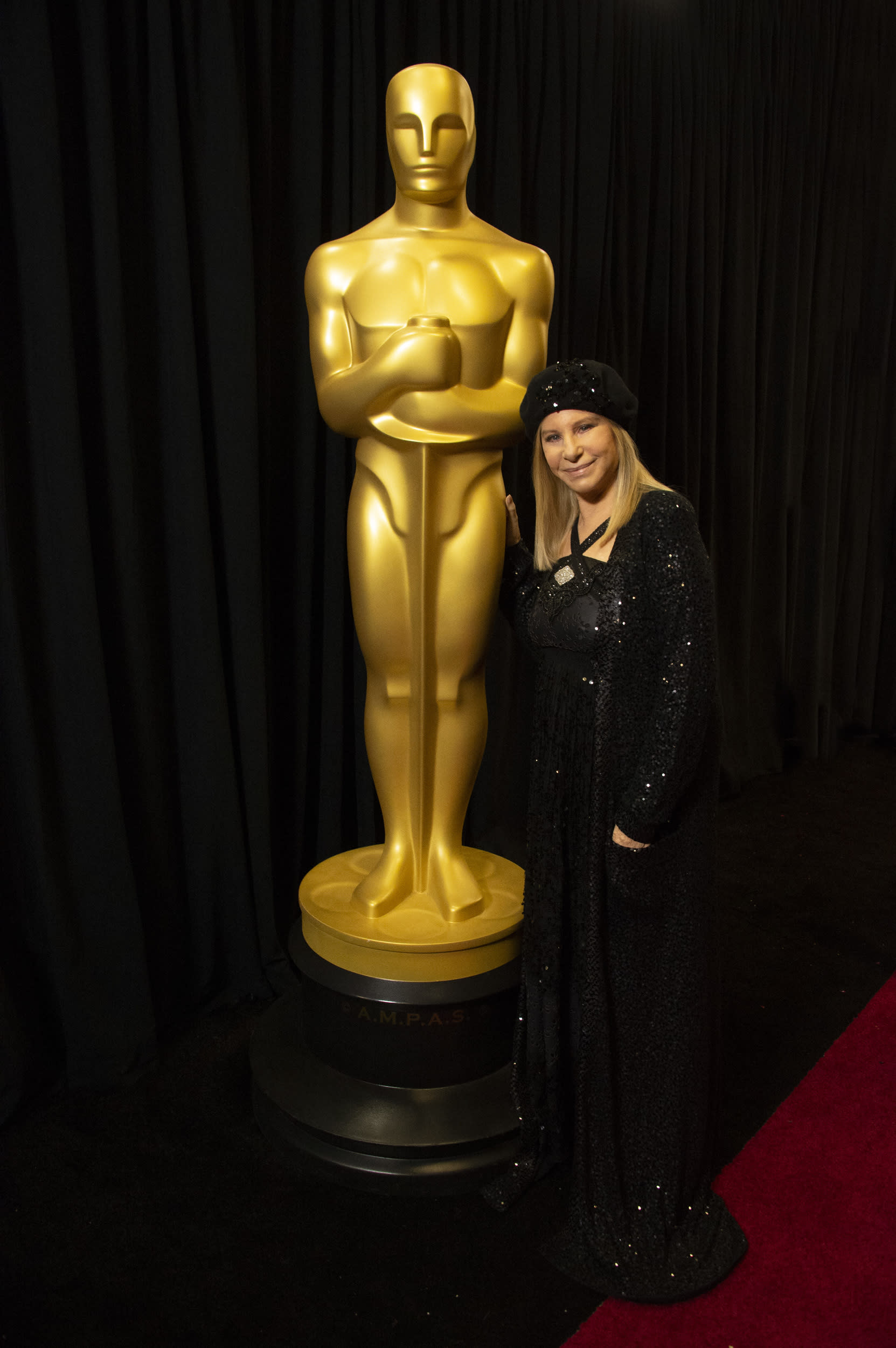 THE OSCARS® - The 91st Oscars® broadcasts live on Sunday, Feb. 24, 2019, at the Dolby Theatre® at Hollywood & Highland Center® in Hollywood and will be televised live on The ABC Television Network at 8:00 p.m. EST/5:00 p.m. PST. Ms. Streisand is wearing a vintage Chanel gown made of leather and sequins. The long sequin sweater is an old Donna Karan piece from her closet. Additionally the antique pin is hers from many years ago.(Eric McCandless via Getty Images)BARBRA STREISAND