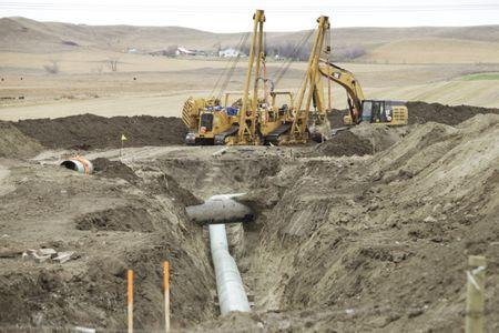 Construction equipment sits near a Dakota Access Pipeline construction site off County Road 135 near the town of Cannon Ball, North Dakota, U.S., October 30, 2016. REUTERS/Josh Morgan