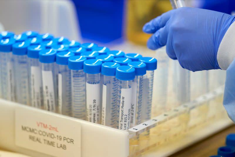 FILE PHOTO: A lab at Methodist Dallas Medical Center testing samples for coronavirus disease (COVID-19) in Dallas