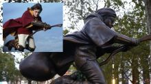 Bronze Statue of Harry Potter Playing Quidditch on a Nimbus 2000 Broomstick Appears in London