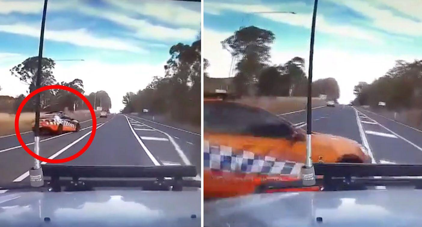 WATCH: Moment ute collides with police car performing u-turn