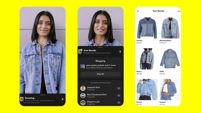 Snapchat's new 'Screenshop' feature uses the in-app camera to help you find items.