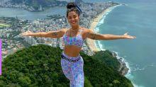 Aline Riscado se aventura em rapel no Rio de Janeiro