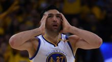 The Warriors' NBA Finals hats are a little too small for Zaza Pachulia