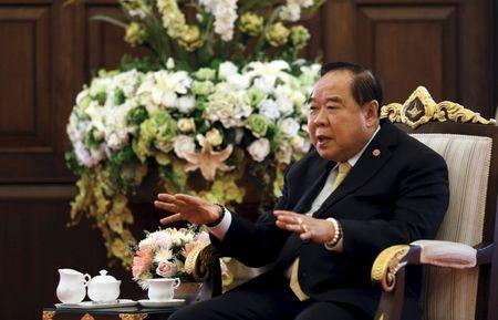 Thailand's Deputy Prime Minister and Defence Minister Prawit Wongsuwan gestures during an interview with Reuters at the Defence Ministry in Bangkok