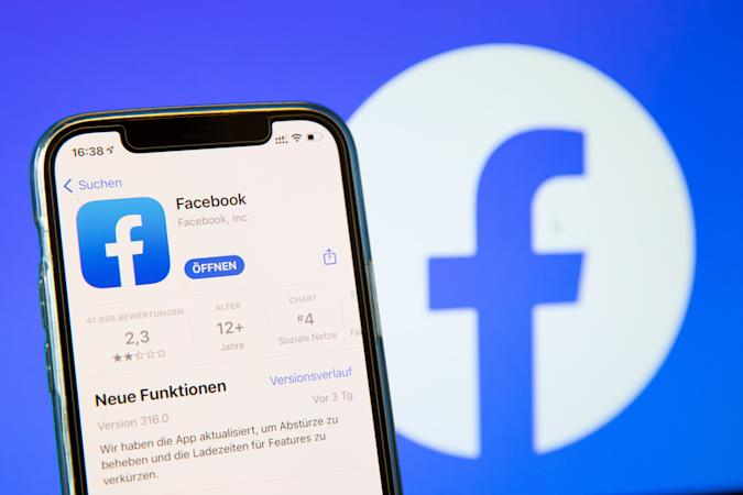 BARGTEHEIDE, GERMANY - MAY 03: (BILD ZEITUNG OUT)  In this photo illustration, a Facebook App in the IOS App Store on May 03, 2021 in Bargteheide, Germany. (Photo by Katja Knupper/Die Fotowerft/DeFodi Images via Getty Images)