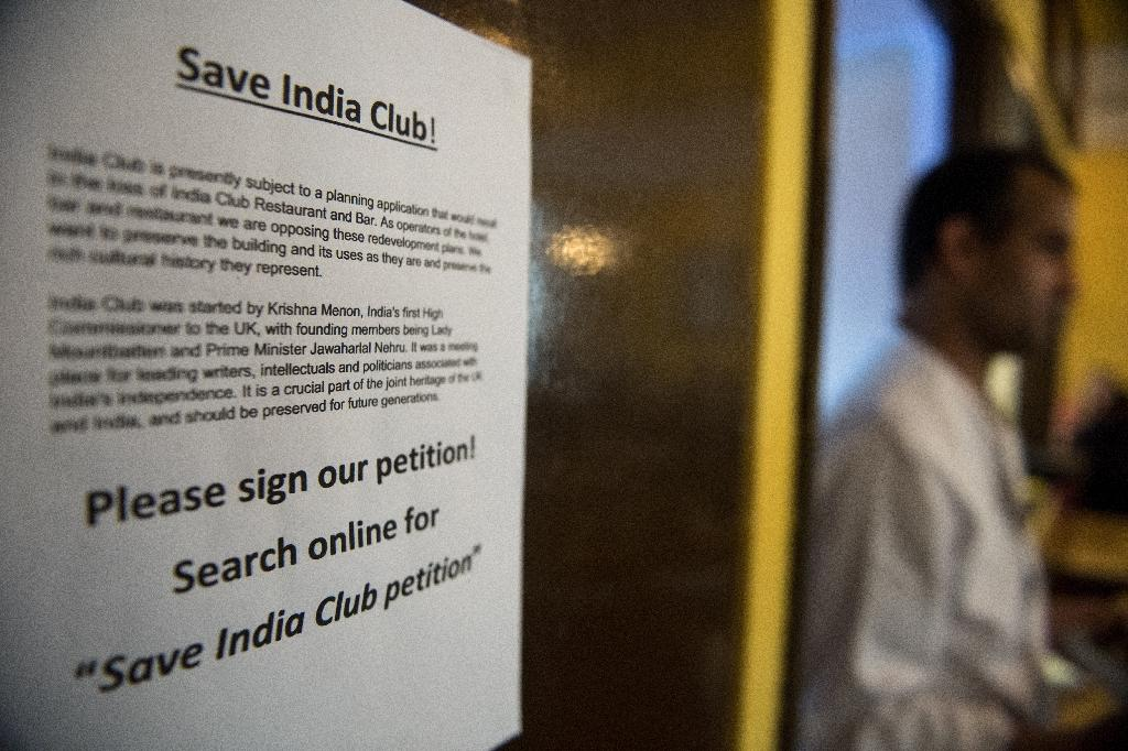 The campaign to save the India Club garnered the support of intellectuals, Anglo-Indian businessmen and lawmakers from both countries -- as well as more than 26,000 petition signatories (AFP Photo/CHRIS J RATCLIFFE)