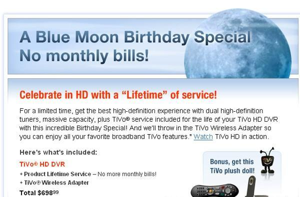 TiVo's Blue Moon special: TiVo HD, lifetime service for $698