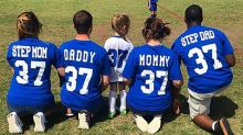 Family's custom soccer jerseys show off their co-parenting skills
