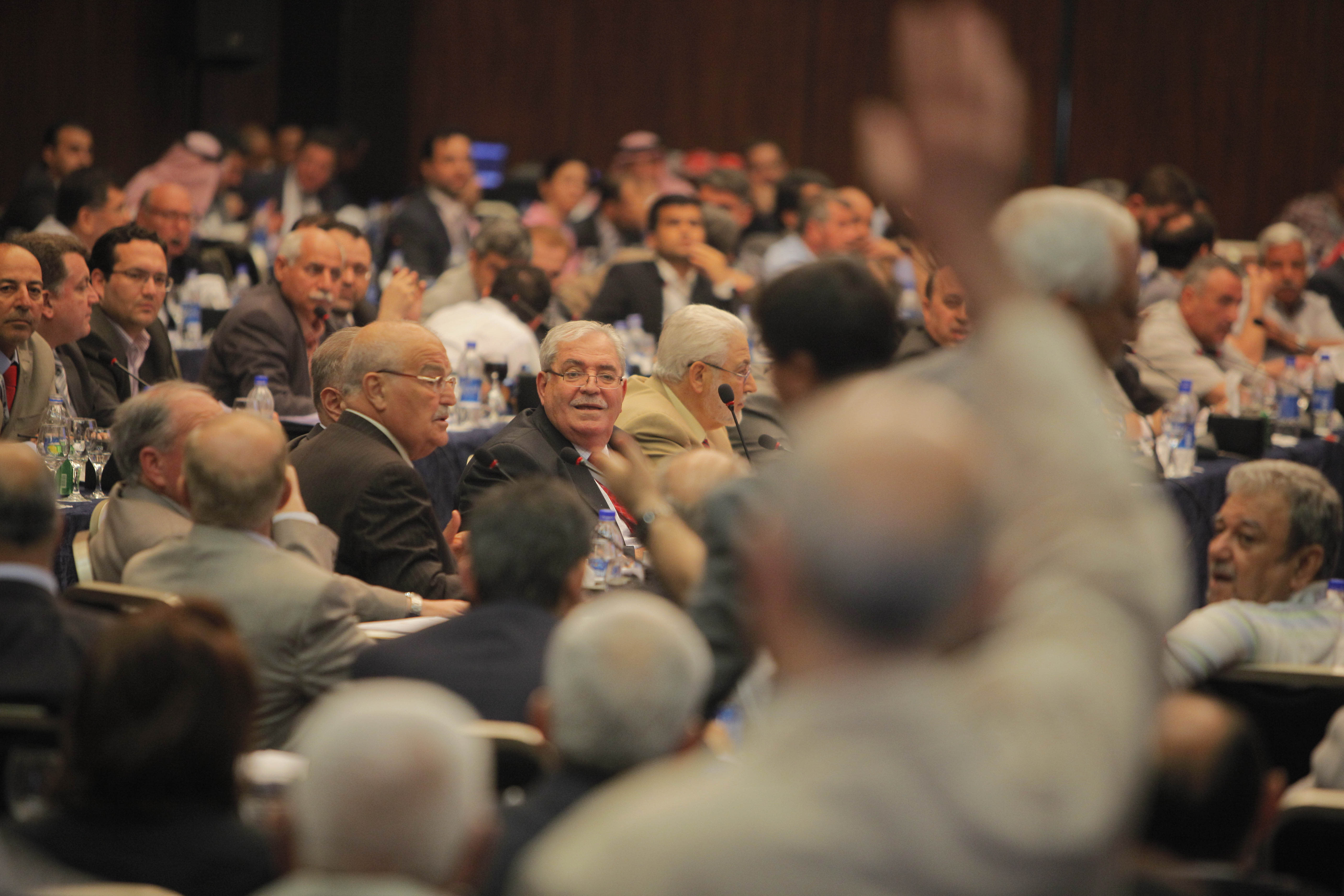 Exiled Syrian opposition figures meet in New Cairo, Egypt, Tuesday, July 3, 2012. The Arab League chief urged exiled Syrian opposition figures to unite at a meeting as a new Western effort to force President Bashar Assad from power faltered.(AP Photo/Amr Nabil)